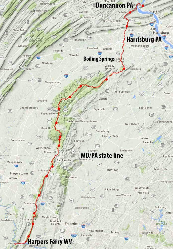 Appalachian Trail New England Map.Low Carbon Appalachian Trail Section Hike Via Train Harpers Ferry