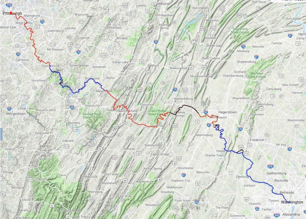 bikepacking GAP Trail and C&O Canal Trail