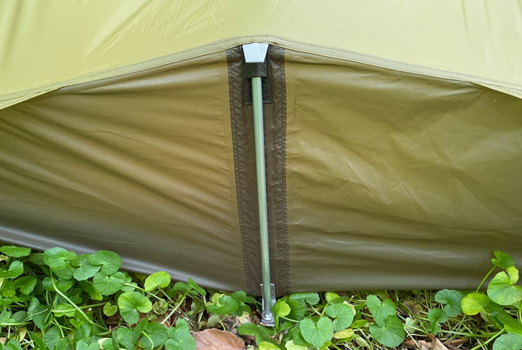 rear pole of tent is tight