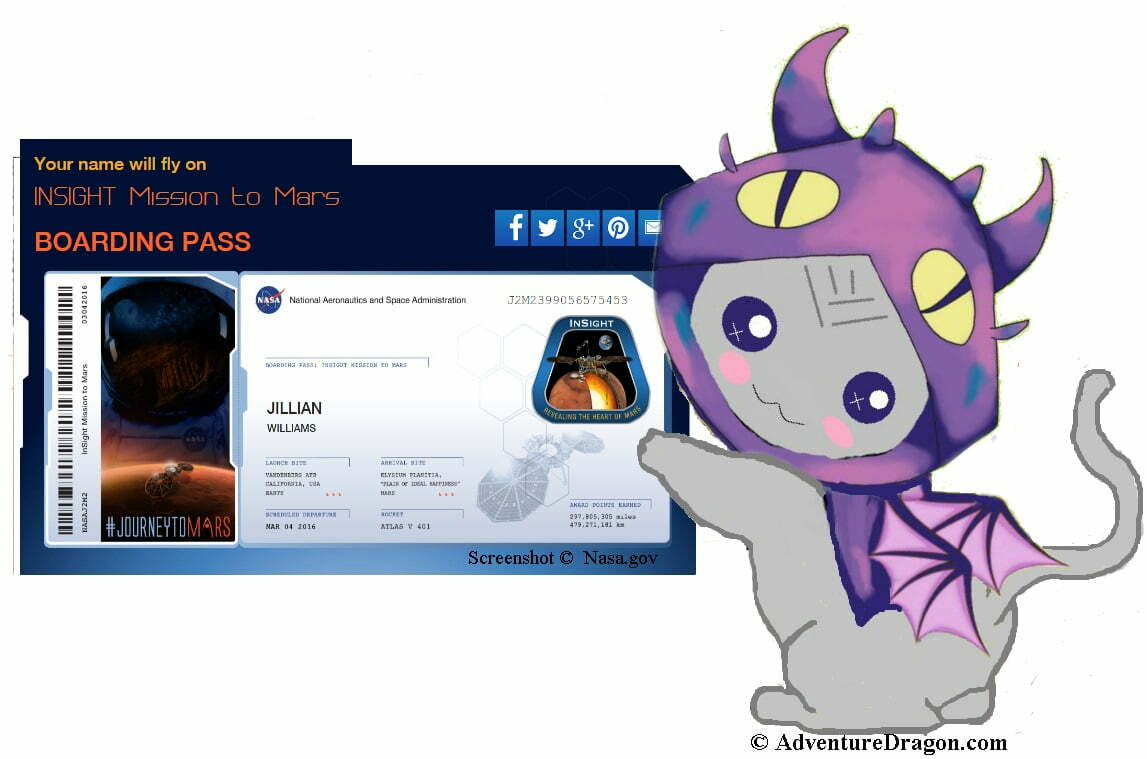 Adventure Dragon Holding the Send Your Name to Mars Boarding Pass