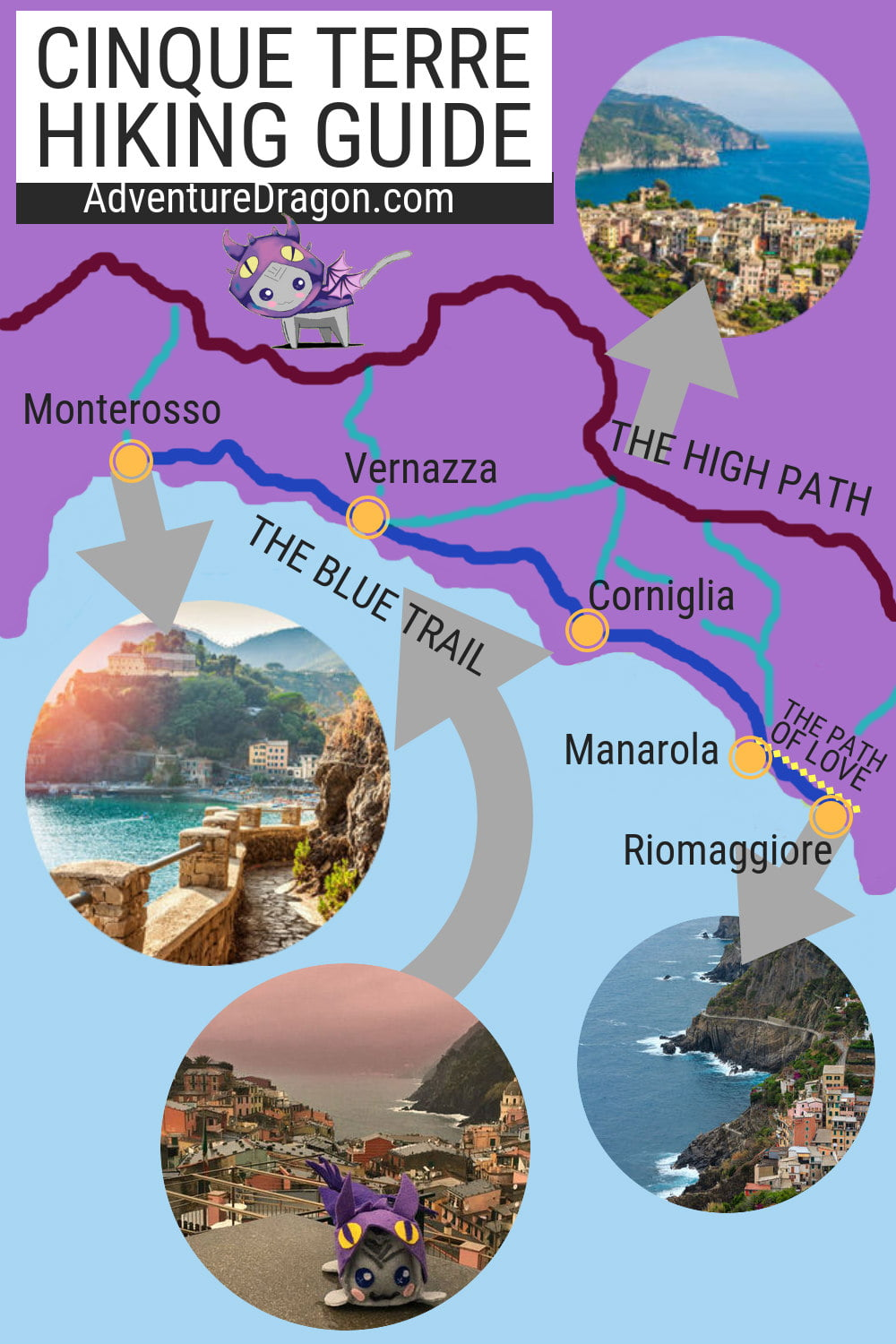 Cinque Terre Hiking Map | Cinque Terre Trail Map | Italy Travel Guide