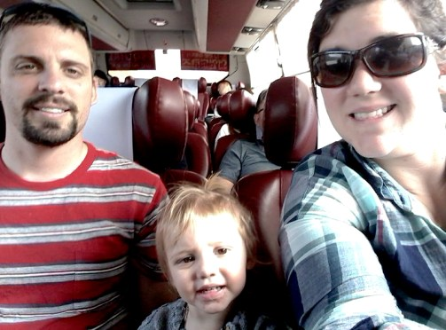 We were very cozy and comfortable on our cross-country bus ride in South-Korea!