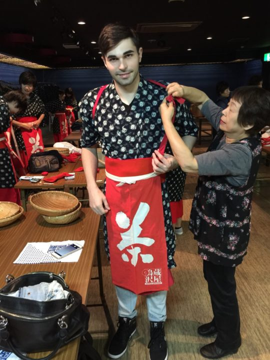 Wearing traditional worker's clothes