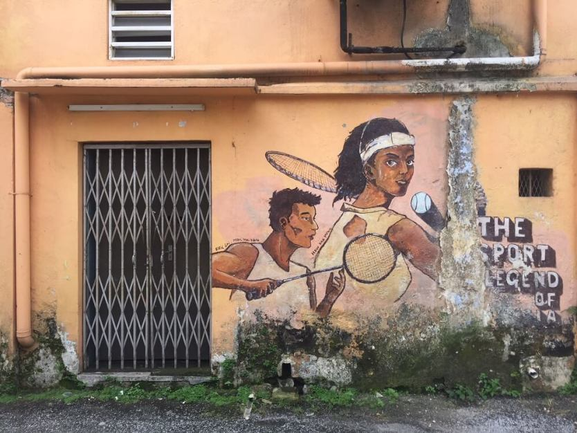 sports players street mural