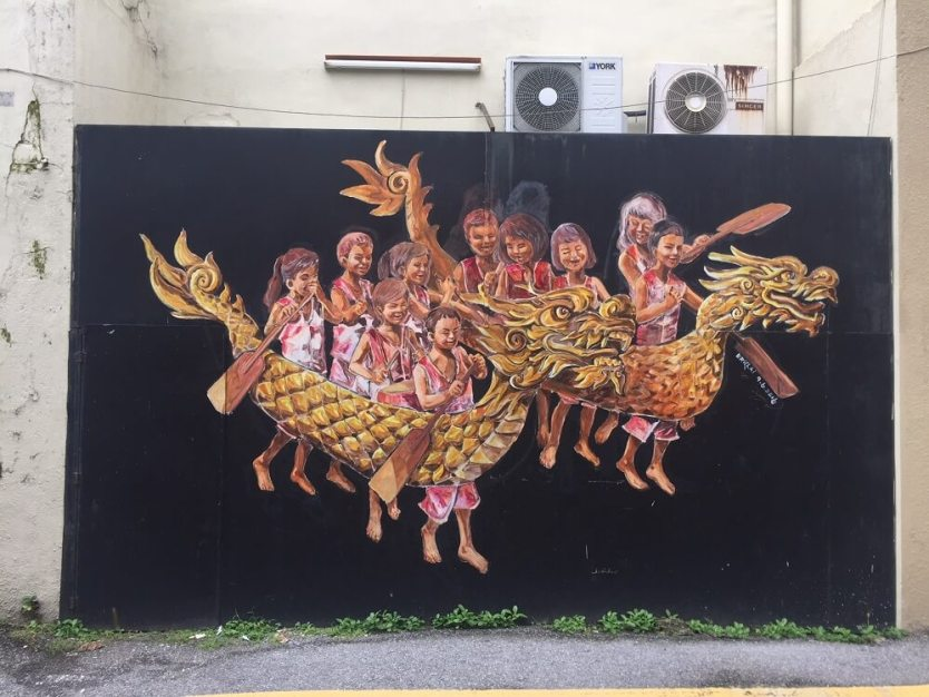 dragon boat racing street art