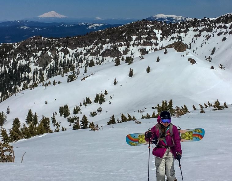 Backcountry snowboarding in Lassen