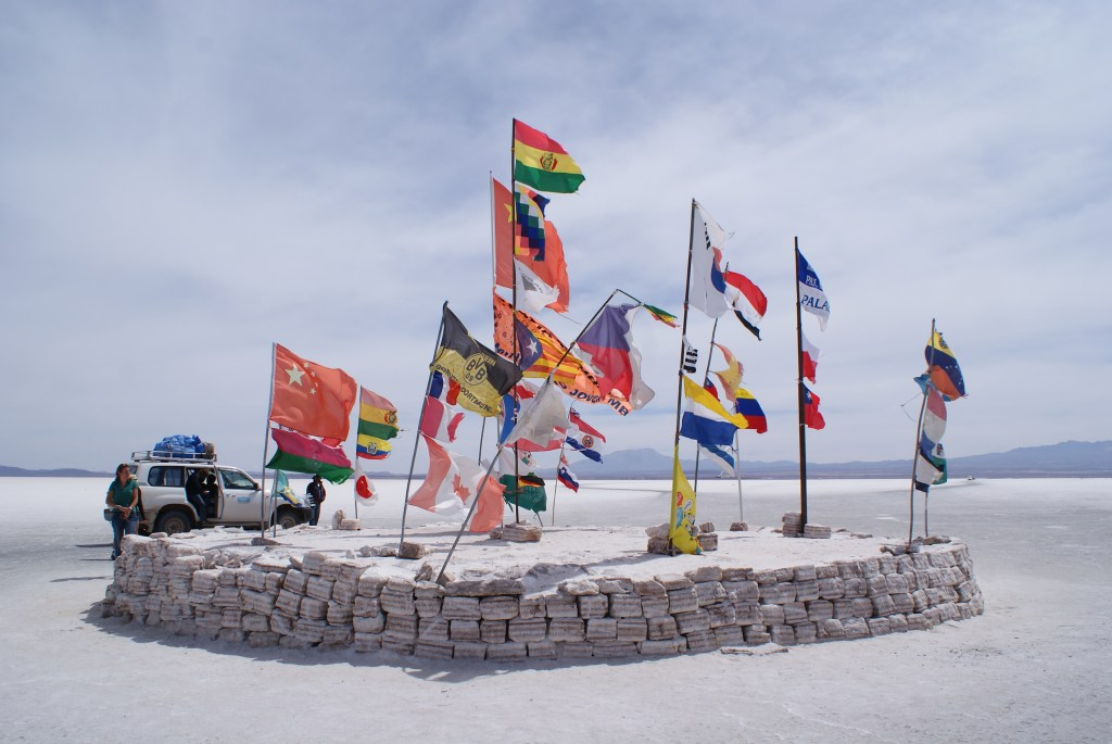 Flags of the world at the salt mines of Uyuni.