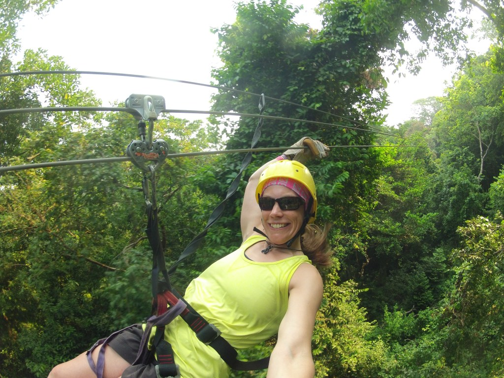 Zip-lining through the jungle in Honduras.