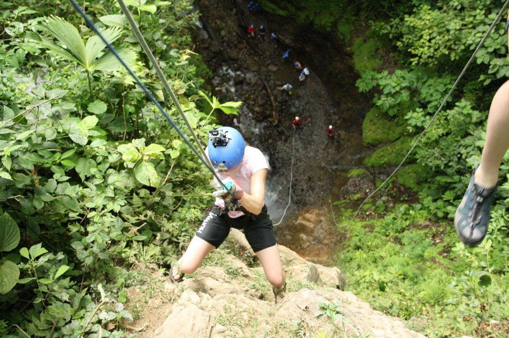Conquering my fears by rappelling down the 165 foot waterfall!