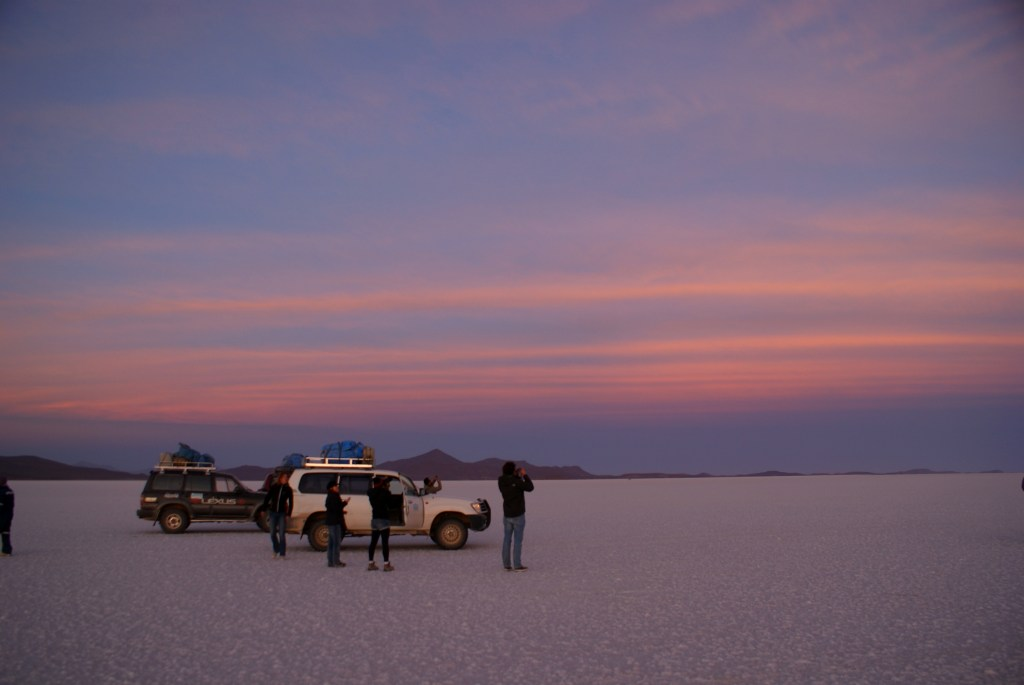Watching the sunrise over the Uyuni Salt Flats, Bolivia