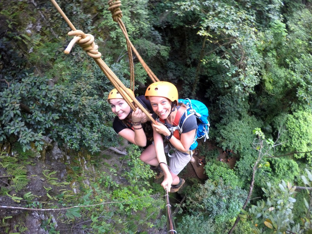 Being lowered down into Jomblang Cave.