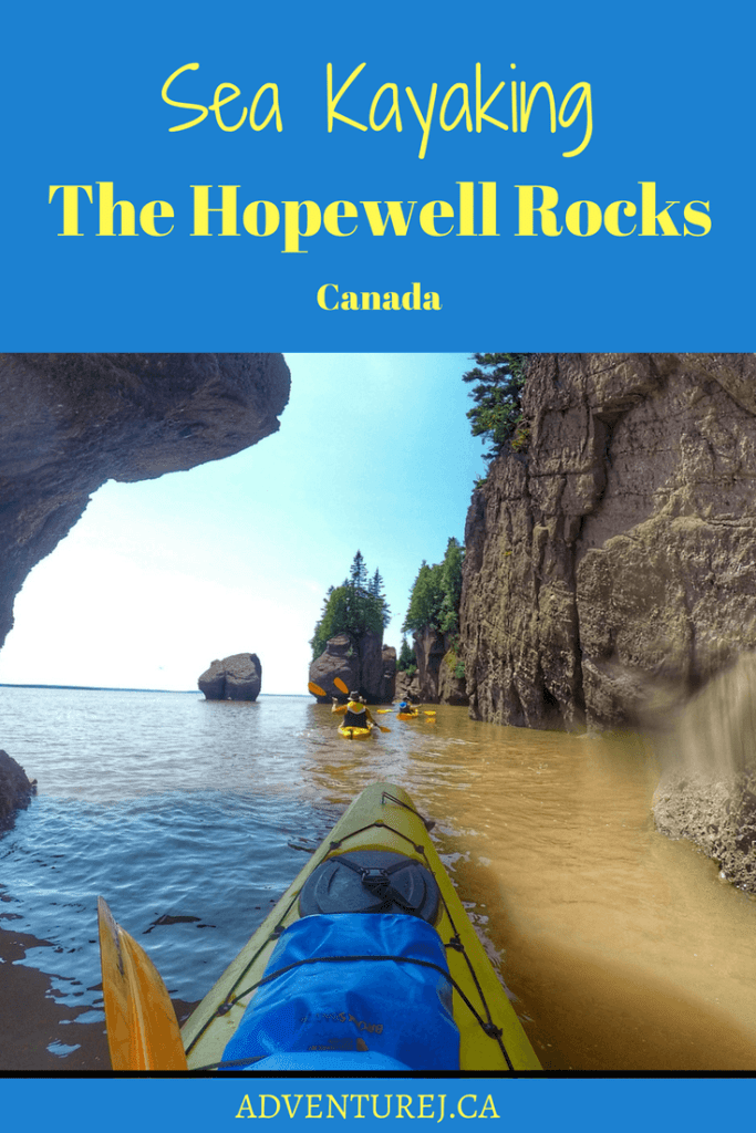Sea kayaking around the Hopewell Rocks in the Bay of Fundy is a must do activity when visiting Canada's east coast! You can both walk around the rocks at low tide and then kayak them at high tide! #Canada #seakayaking #kayaking #outdoors #outside #travel #traveltips #hopewellrocks #Newbrunswick #ocean #atlanticocean