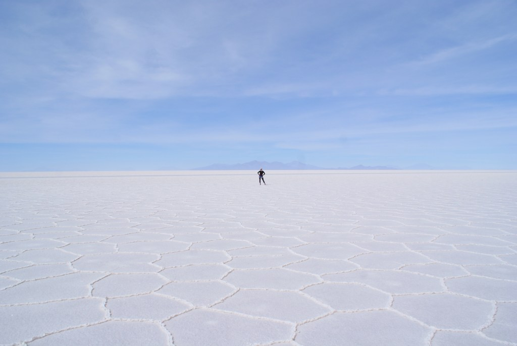 All alone on the Uyuni Salt Flats, Bolivia.