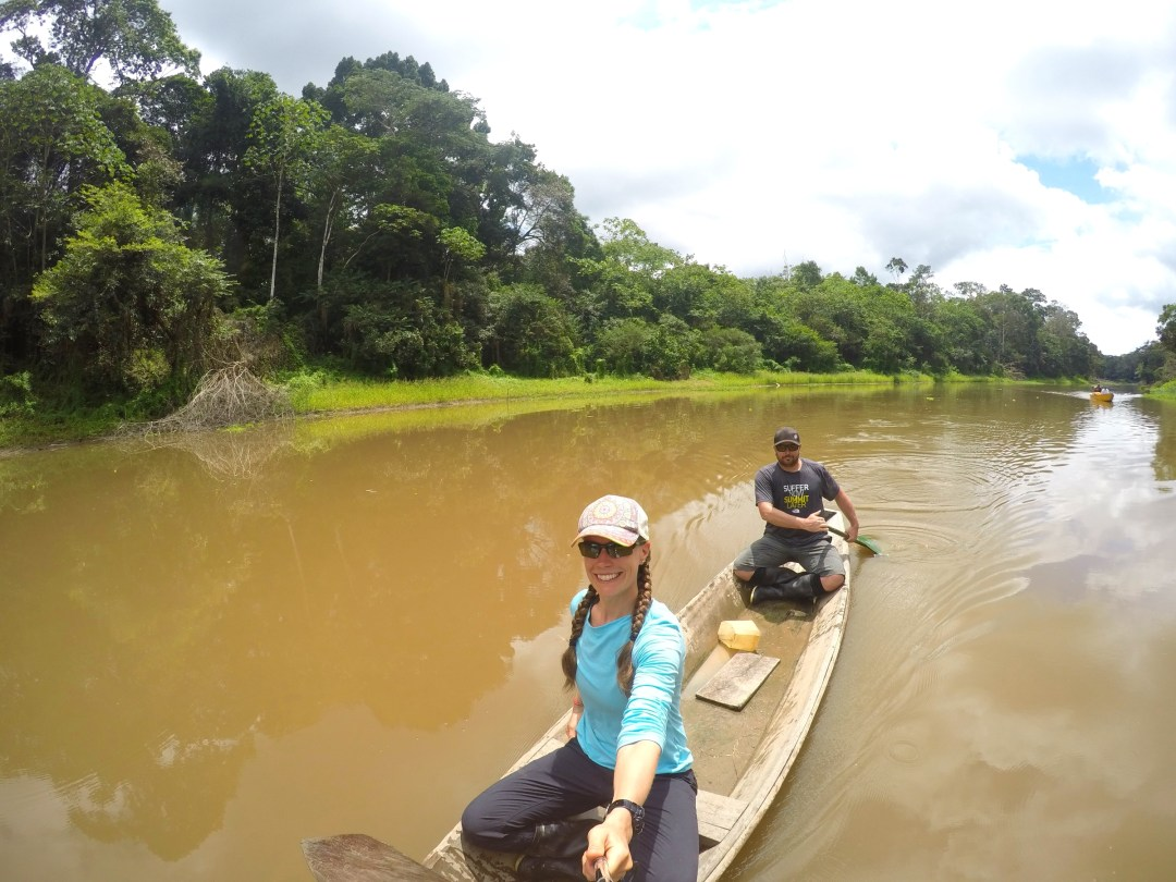 Paddling a traditional dugout canoe.