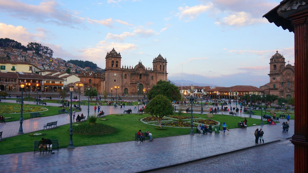Cusco's Plaza de Armas at dusk.