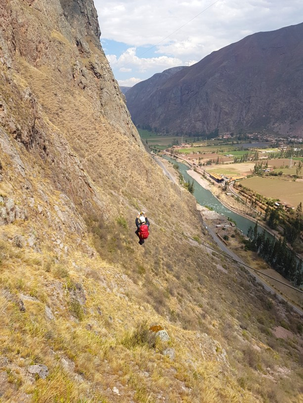 Zipping down the Sacred Valley.