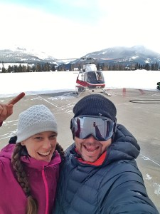 K and I in front of our helicopter