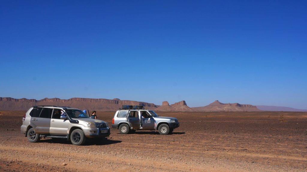 Taking a break in the rocky desert.