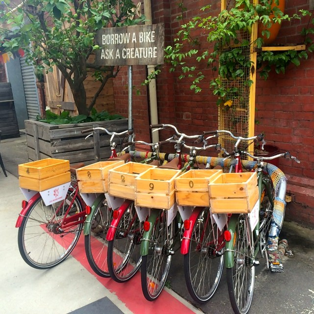 The cute apple crate bicycles at Little Creatures Brewery