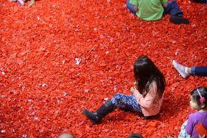 girl in pile of red legos