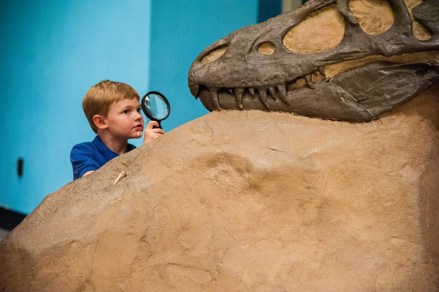 Boy looking through magnifying glass at dinosaur
