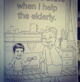 boy helping eldery woman