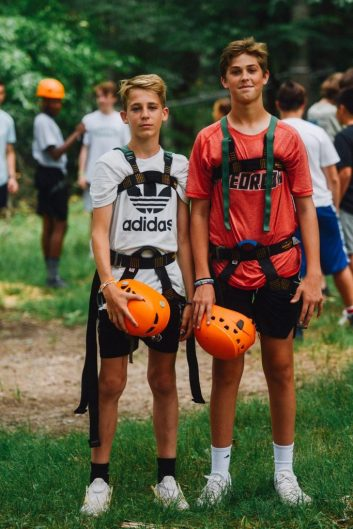 campers in climbing gear