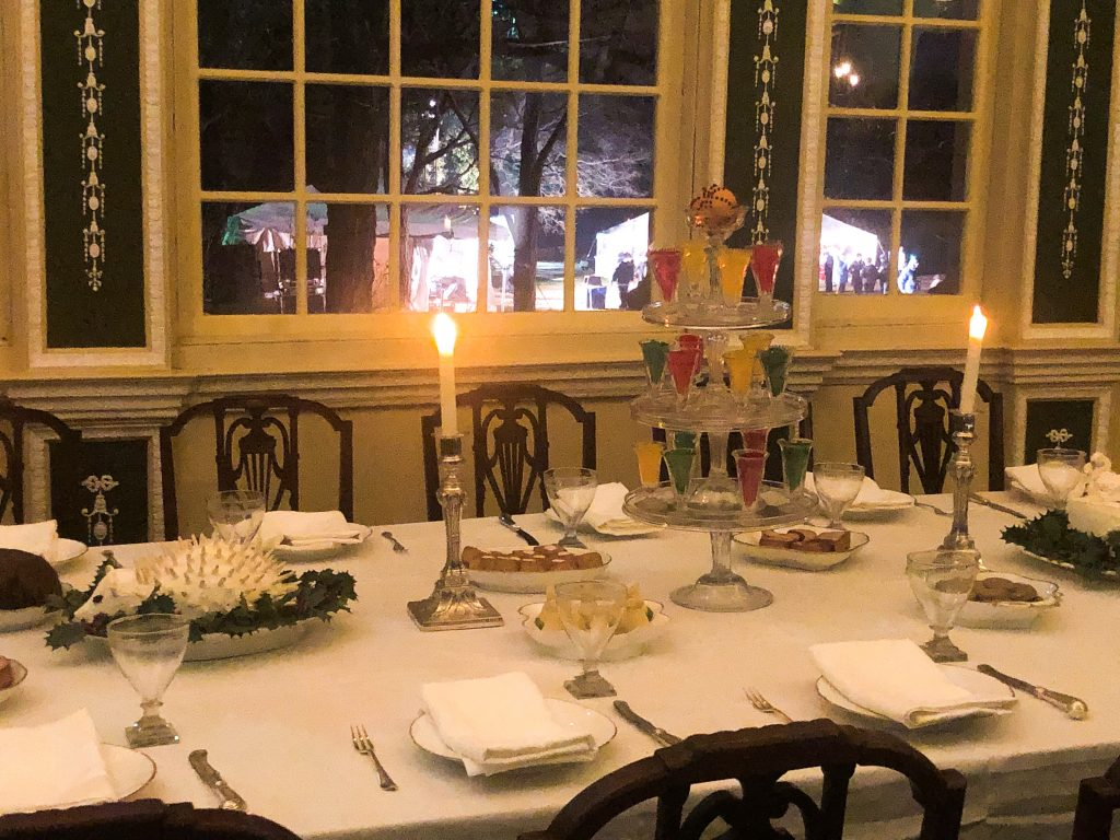Martha's dessert table at Mount Vernon