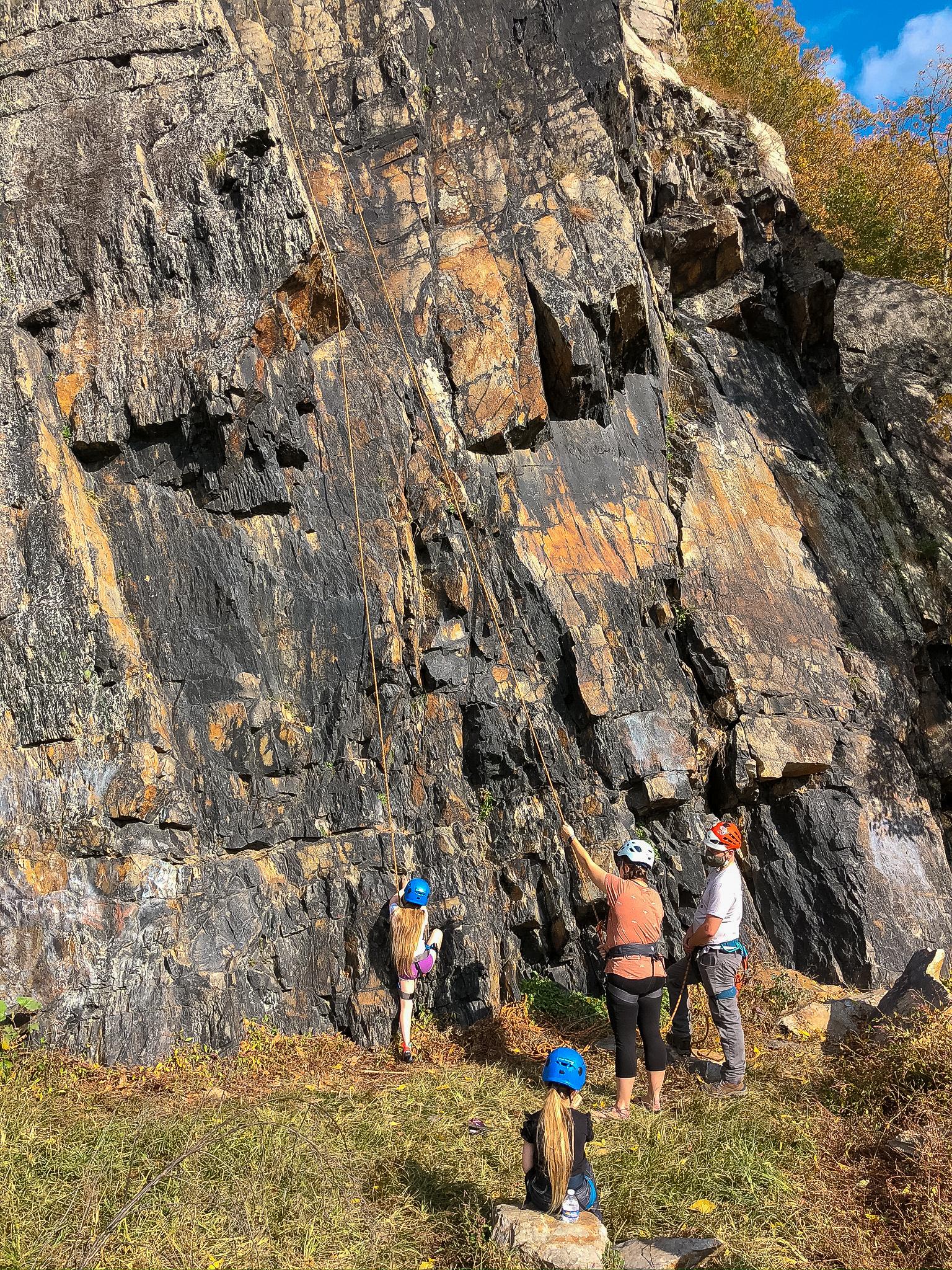 Rock climbing family at Chickies Rock