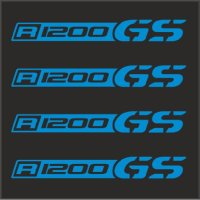 "4pcs SET BMW R 1200 GS Decal Sticker M1 4""x1/2"" Blue"