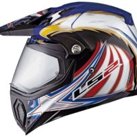 LS2 Helmets MX453 Adventure Motorcycle Helmet with Golden Eagle Graphic (Red/White/Blue, Small)