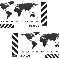 "The Pixel Hut gs00002b BMW GSA Adventure Motorcycle Reflective Decal Kit ""World Adventure Map"" for Touratech Panniers - Black"