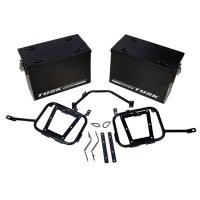Tusk part # 1467340002 Tusk Aluminum Panniers with Pannier Racks Large Black Fits 2008- 2015 Kawasaki KLR 650