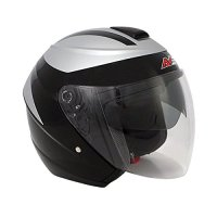 AVE A-13 A-Fire Open Face Motorcycle Helmet and Drop Down Sun Visor (Black, Small)