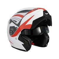 AVE A-20 Atom Electric Modular Flip-Up Motorcycle Helmet and Drop Down Sun Visor (White, Medium)