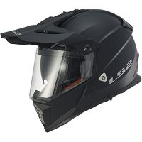LS2 Helmets Pioneer Solid Adventure Off Road Motorcycle Helmet with Sunshield (Matte Black, Small)