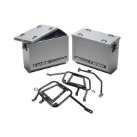 Tusk HD Aluminum Adventure Panniers & Mounting Racks- Medium Silver- BMW R1200GS 2014-2016