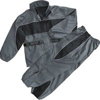 MEN'S MOTORCYCLE MOTORBIKE NYLON DURABLE RAIN SUIT GEAR BLACK/ GREY COLOR NEW (L Regular)