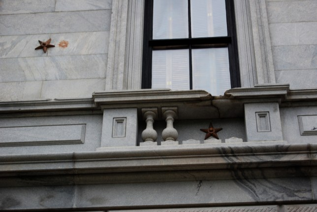Cannon Damage on South Carolina Statehouse