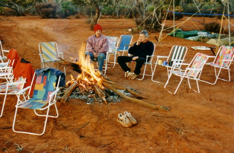 Scott and Cliff at the campfire in the morning.