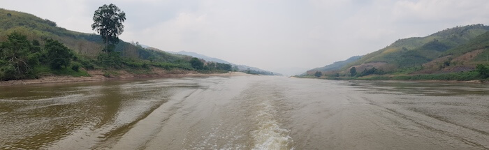 Looking back upriver. The Mekong is somewhere between 4350 km and 4909 km in length depending on who is telling the story. It is either the 8th or 12th longest river in the world.