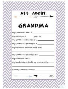 All About Grandma Printable Free