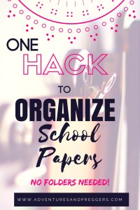 ONE Hack to organize school papers- No folders needed! How to organize your kids school work with less stress and no mess. Click to read how!