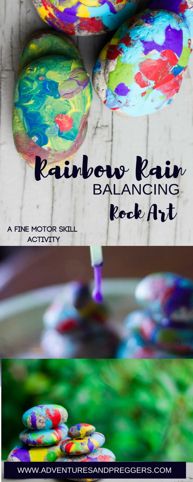 Rainbow Rain Rock Art Fine Motor Skill Activity. Crafts kids love. Click to read how!