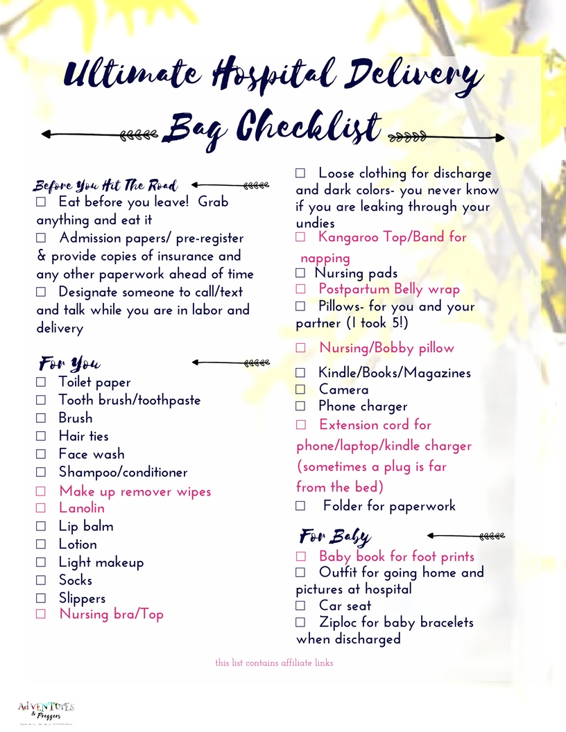 Hospital Delivery Bag Checklist yellow