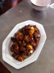 Pork in brown sauce