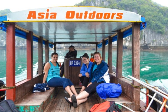 The girls kayaking and rock climbing with Asia Outdoors