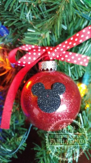 disney themed glitter ornaments mickey ornament - Disney Themed Christmas Decorations