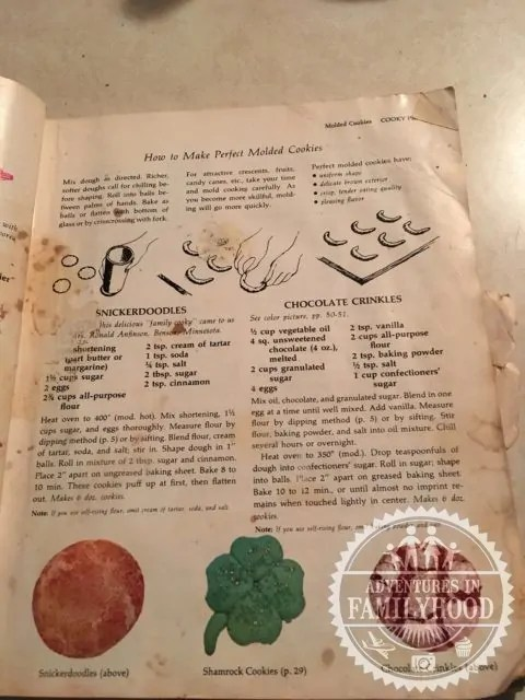 My mom's Cooky Book and the original Chocolate Crinkle recipe. You can tell how much use we've gotten out of it.