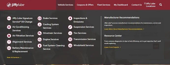 Jiffy Lube Vehicle Services